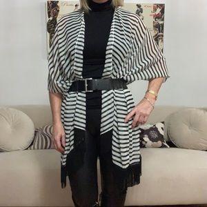 Sweaters - Kimono, black and white stripe with black fringe